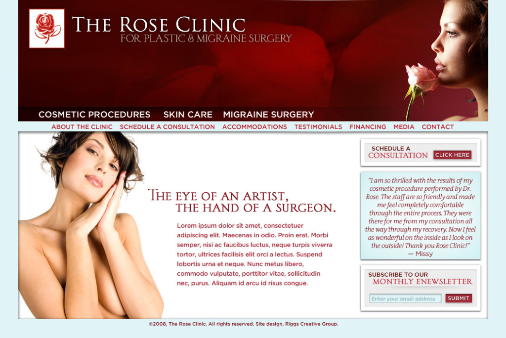 TheRoseClinic.com: Cosmetic Surgeon Website Design